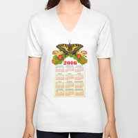 calendar V-neck T-shirts featuring 2016 Decorative Calendar by Patricia Shea Designs