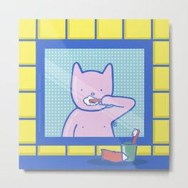 Fox Brushes His Teeth Metal Print