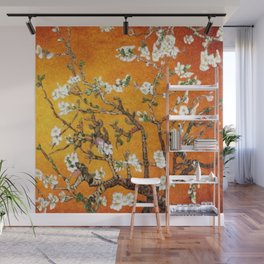Vincent van Gogh Blossoming Almond Tree (Almond Blossoms) Orange Sky Wall Mural