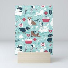 Veterinary medicine, happy and healthy friends // aqua background Mini Art Print