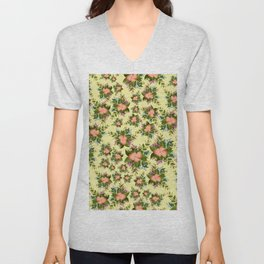 Watercolor Flowers on Pale Yellow Background Unisex V-Neck