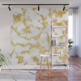 Glitzy Gold Veins on Creamy, Marshmallow Marble Wall Mural