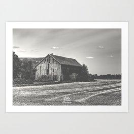 Jenga Barn 1 (BW) Art Print