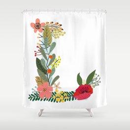 Monogram Letter L Shower Curtain