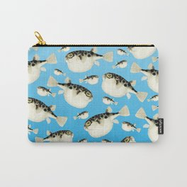 Puffer Fish Blue Pattern Carry-All Pouch