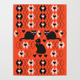 Cats and hearts with diamonds Poster