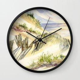 Shoreline Dune Shadows Across Lake Wall Clock
