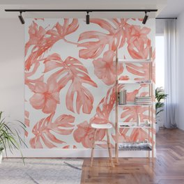 Tropical Hibiscus and Palm Leaves Dark Coral White Wall Mural