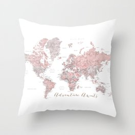 World map in dusty pink & grey watercolor, Adventure awaits Throw Pillow