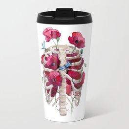 Rib cage with poppy Travel Mug