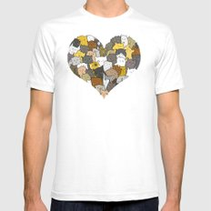 I Love Cats SMALL White Mens Fitted Tee