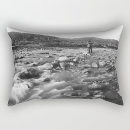 Man with rifle stands in mountain stream as it floods, east of Palmdale, California, ca.1920 Rectangular Pillow