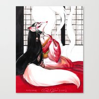 kitsune Canvas Prints featuring Kitsune by Aimee Steinberger