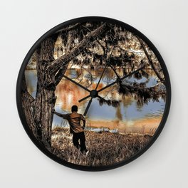 Lone Lake Observer Pen and Ink Sketch Wall Clock