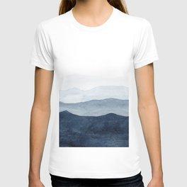 Indigo Abstract Watercolor Mountains T-Shirt