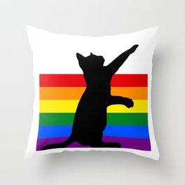 Rainbow Cat Lover Throw Pillow
