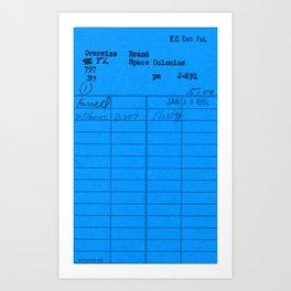 Library Card 797 Blue Art Print
