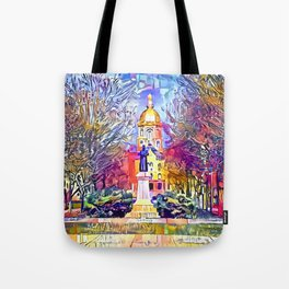 Father Sorin Statue on Notre Dame Main Quad Tote Bag