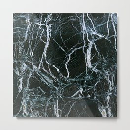 Black Marble With White Ribbons Metal Print