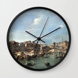 Francesco Guardi Grand Canal with the Rialto Bridge, Venice Wall Clock