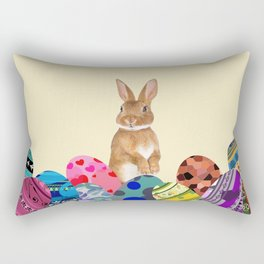 Eastern Bunny with colorful eggs Rectangular Pillow