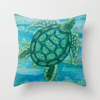 sea turtle Throw Pillows featuring turtle by Brittany Rae