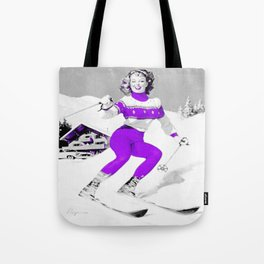 Snow Bunny Pin Up Girl Purple Tote Bag