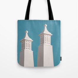 Minimalist Photography Portugal Minerit White Towers Blue Background Scadenvien Style Tote Bag