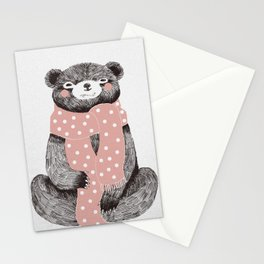 OSO, the bear with the big scarf.  Stationery Cards