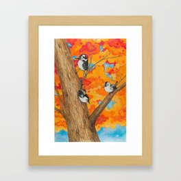 Fall: Two Nuthatches and a Downy Framed Art Print
