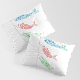 Watercolor Japan Carp Streamers / Koinobori Pillow Sham