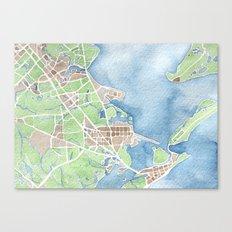 Coastal Map of Galveston TX Canvas Print