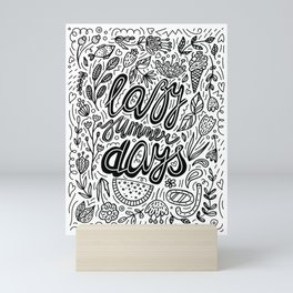 Lazy Summer Days Black And White Poster Mini Art Print
