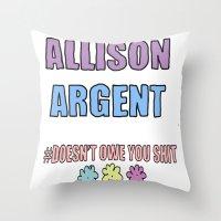 allison argent Throw Pillows featuring Allison Argent by Spattergroit101