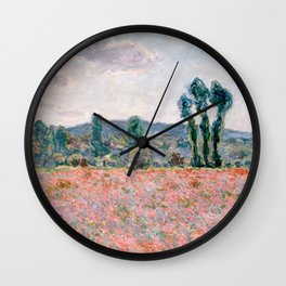 Poppy Field in Giverny by Claude Monet Wall Clock