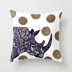 NAVY & GOLD RHINO Throw Pillow