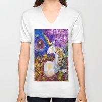 unicorn V-neck T-shirts featuring Unicorn by CrismanArt