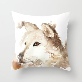 Wolf in the Mist Throw Pillow