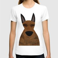 german shepherd T-shirts featuring Dog - German Shepherd 2 by Verene Krydsby