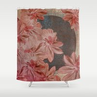 leah flores Shower Curtains featuring Flores by MACACOSS