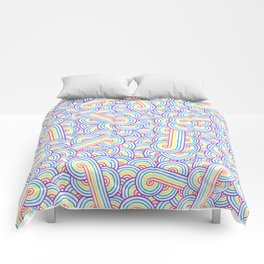 Rainbow and white swirls doodles Comforters