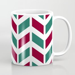 Dark red, teal green and white chevron pattern Coffee Mug