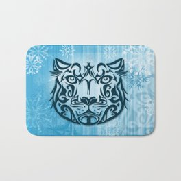 Tribal Graphic Design Illustration winter: Snow Leopard Bath Mat