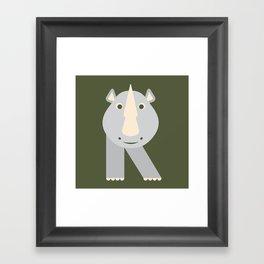Letter R // Animal Alphabet // Rhino Monogram Framed Art Print