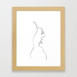 Lovers - Minimal Line Drawing Art Print4 Framed Art Print