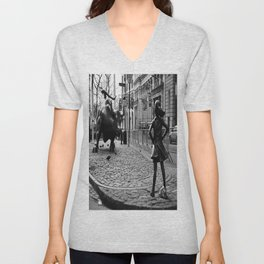 Fearless Girl and the Charging Bull Unisex V-Neck