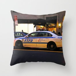 NYPD Squad Car Throw Pillow