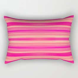 Coral and Pink Brush Stroke Painted Stripes Rectangular Pillow