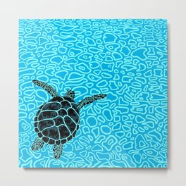 Sea Turtle by Black Dwarf Designs Metal Print