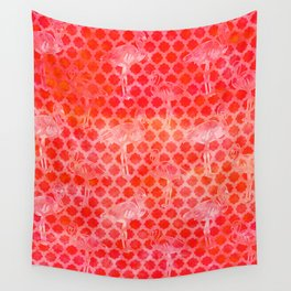 Watercolor Pink Flamingo Tropical Geometric Pattern Wall Tapestry